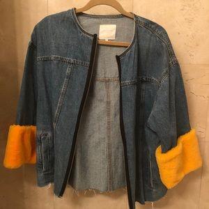 Zara denim jacket faux fur removable wrists